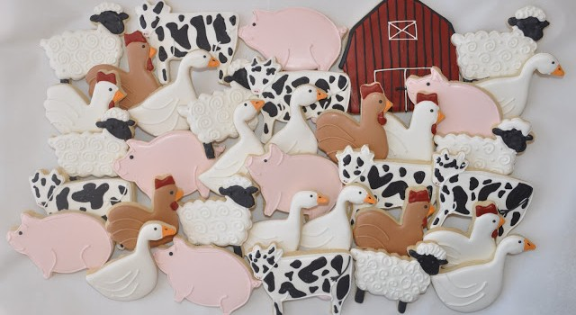 Farm Cookies decorated with Royal icing